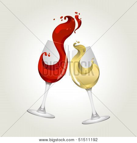 Toasting gesture red and white wine