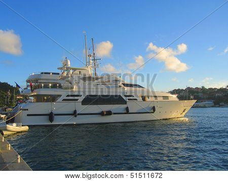 Mega yacht in Gustavia Harbor at St Barths, French West Indies.