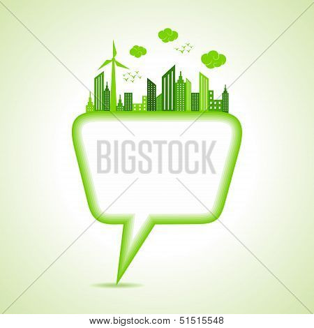 Ecology concept with message bubble