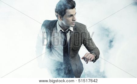 Portrait of businessman hurrying somewhere