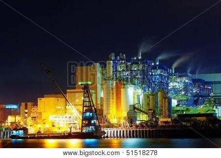 power station at night, hong kong