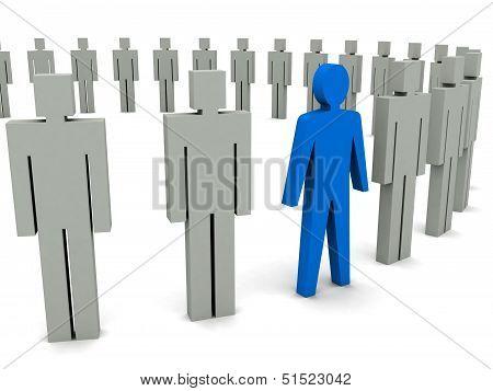 Unique person in row. Concept 3D illustration