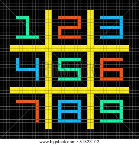 8-bit Pixel Art Numbers 1-9 In A Sudoku Grid