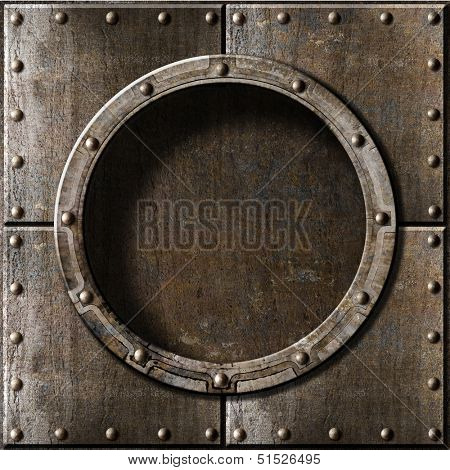armored metal porthole background