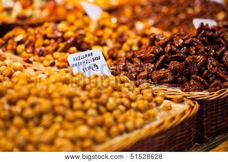 Dried Fruits At The Market (la Boqueria, Barcelona Famous Place)