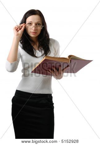 Cute Woman With Large Book Isolated On White