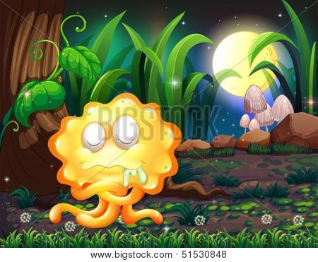 Illustration of a forest with a yellow monster salivating