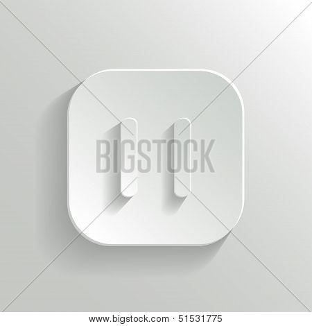 Pause Icon - Media Player Icon - Vector White App Button