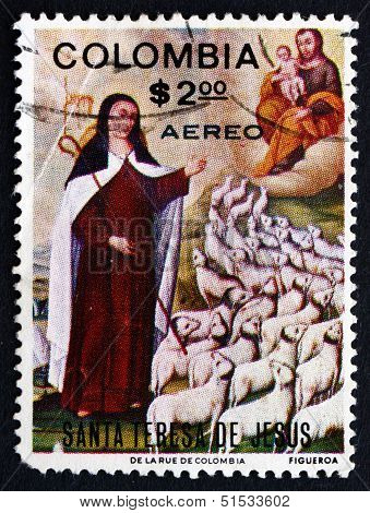 Postage Stamp Colombia 1970 St. Theresa, By Baltazar De Figueroa