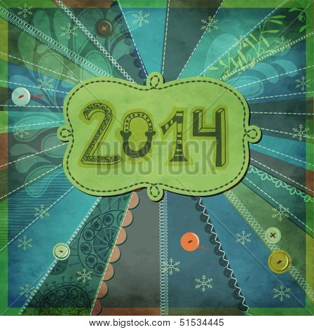 2014, New Year - New Year poster, with doodle numbers and label, hand drawn and sewn on textured patchwork background, with buttons, frilly borders and various stitches