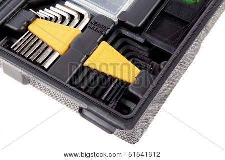 toolbox set of tools include hammer wrench bit driver pliers hex key bush level hex key