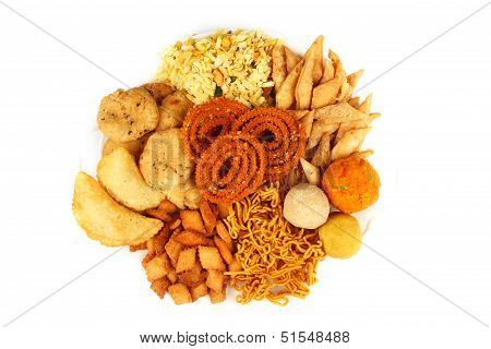 Traditional Indian Snack Platter Isolated On White.