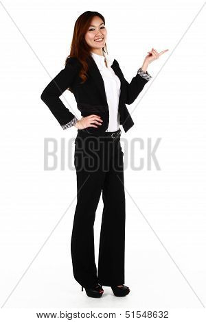 Young Business Woman Over White Background Presenting.
