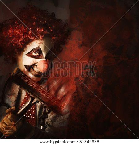 Evil Monster Clown Washing Splattered Glass