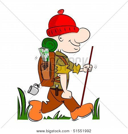 A cartoon hiker rambler