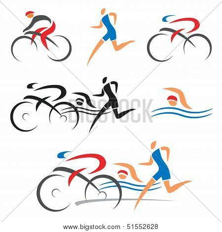 Triathlon cycling fitness icons