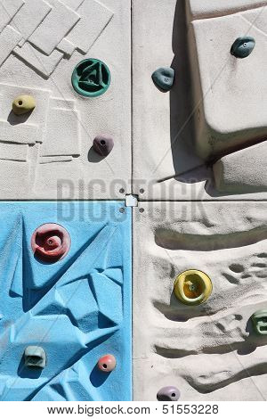 Rock climbing wall with toe and hand hold studs poster