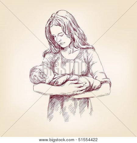 Madonna Mary holding Baby Jesus vector llustration