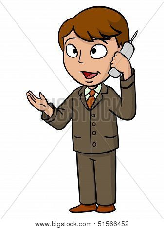 Cartoon Businessman Talking With Cell Phone