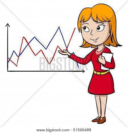 Cartoon Woman Present Graph