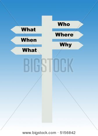 Six Questions Sign Post