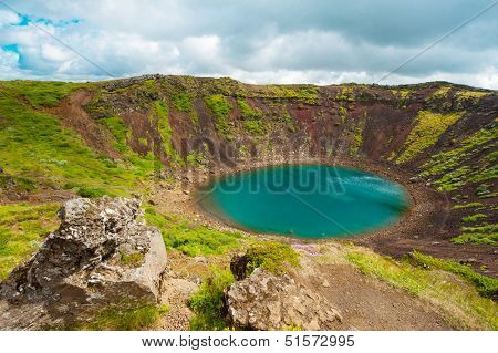 Kerid is a beautiful crater lake of a turquoise color located on the South-West of Iceland. HDR poster