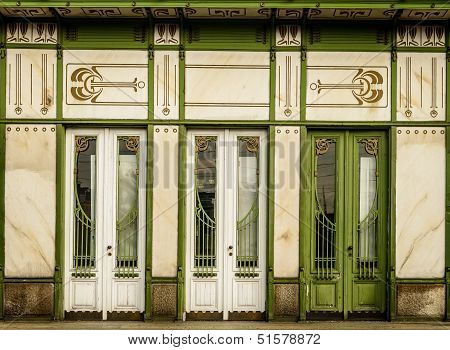 Three white doors in art noveau style -details of Viennas architecture. poster