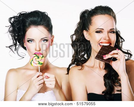 Burlesque. Parody. Couple Of Women Sneers And Showing A Fig