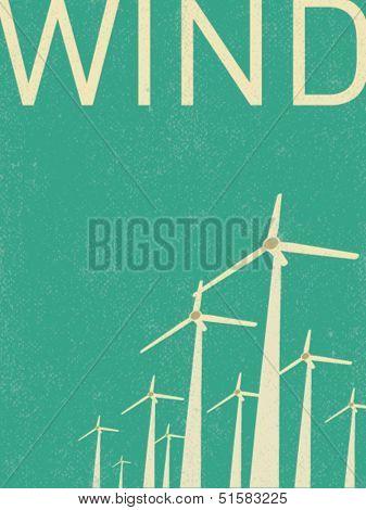 vector retro wind turbines illustration