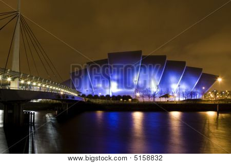 Clyde Auditorium In Glasgow Scotland At Night