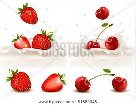 Red fruits falling into the milky splash. Vector illustration