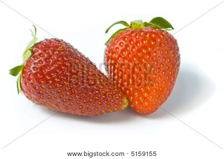 Two Ripe And Appetizing Strawberries.