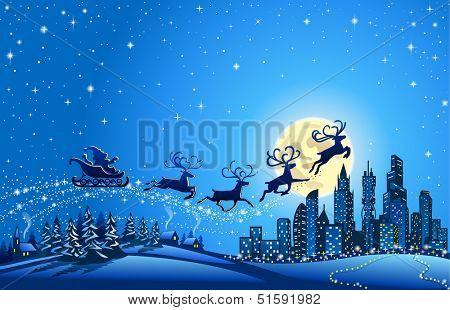Santa Sleigh Closer to the Big City  Christmas winter Landscape with Santa Into the Sky Closer to the Big City