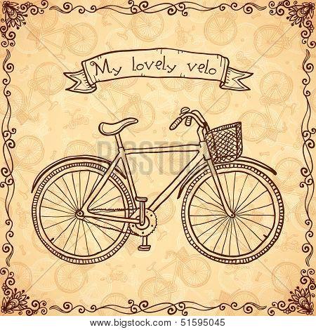 Vintage bicycle hand drawn vector card