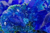 macro photo about crystals of blue vitriol - Copper sulfate poster