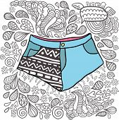Cute cartoon doodle hipster shorts. Pocket with ornament print. poster