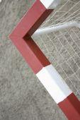 A detail of an empty football goal poster