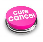 A pink button with the words Cure Cancer on it poster