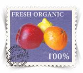 Label for various fresh organic products advertisements stylized as vintage post stamp - landscape view poster
