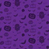 Halloween Ghost Bat Pumpkin Seamless Pattern Background Purple Vector poster