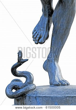 The attack of the snake, the charmer snake by C A Bourgeois 1838/1886
