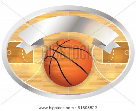 An illustration of a basketball court and banner. Vector EPS 10 file available. EPS file contains transparencies. poster