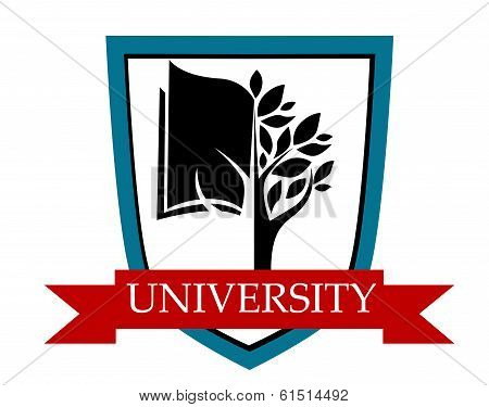 University emblem with shield and banner