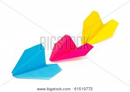 Three Colored Paper Planes