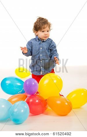Elegant Baby Boy With Balloons