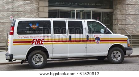 The FDNY fire family transport foundation van in New York