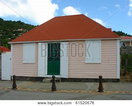 Old traditional house in Gustavia at St Barts.