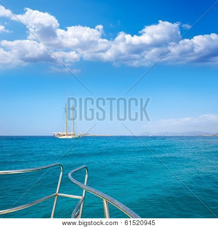 Illetes Illetas Formentera yacht sailboat anchored in turquise Mediterranean