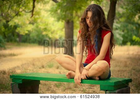 girl meditation nature park red green background blur nature poster