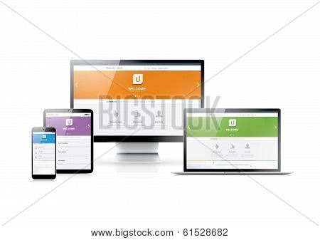 Responsive web development in flat website styles in four colors